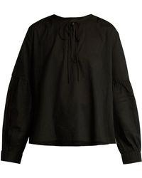 Nili Lotan - Anla Tie-neck Cotton Blouse - Lyst