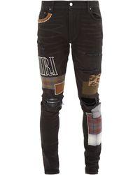 Amiri Patchwork Slim-leg Jeans - Black