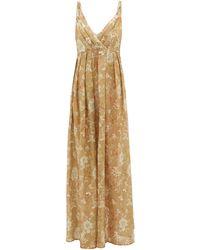 La Costa Del Algodón Juliette Empire-waist Cotton-muslin Nightdress - Brown