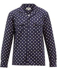 YMC キューバンカラー ポルカドット ツイルシャツ - ブルー