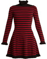 RED Valentino - High-neck Striped A-line Dress - Lyst