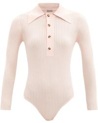 Dodo Bar Or Monie Point-collar Rib-knitted Bodysuit - Pink