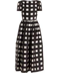 Christopher Kane Robe en soie à carreaux et ourlet zippé - Noir