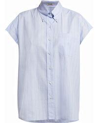 Miu Miu - Plaid Cap Sleeved Cotton Shirt - Lyst