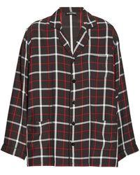 Balenciaga Checked Cuban-collar Shirt - Black