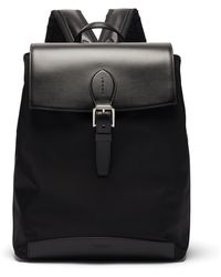 Ralph Lauren Purple Label Voyager Leather And Technical-canvas Backpack - Black