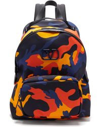 Valentino V-logo Leather-trim Camouflage-print Backpack - Multicolour