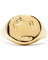 Pearls Before Swine Abstract-surface Gold-plated Signet Ring - Metallic