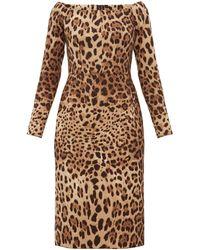Dolce & Gabbana - レオパード ウールクレープ ドレス - Lyst