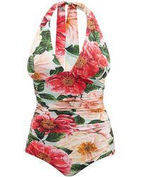 Dolce & Gabbana - フローラル シャーリング ホルターネックスイムウェア - Lyst
