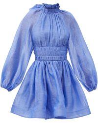 Zimmermann Robe courte en organza de lin mélangé Luminous - Bleu