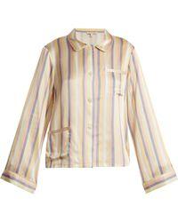 Morgan Lane - Haut de pyjama en soie rayée Ruthie - Lyst