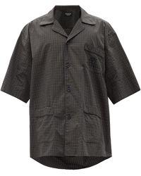 Balenciaga オーバーサイズ チェック コットンシャツ - ブラック