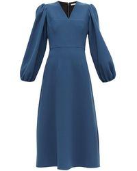 Emilia Wickstead Carmina バルーンスリーブ ウールクレープドレス - ブルー