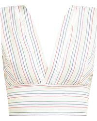 Zeus+Dione Pelion Striped Tie Waist Cotton Cropped Top - White