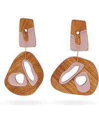 ROKSANDA - Mismatched Sculptural Wood Drop Earrings - Lyst