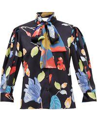 Peter Pilotto Blouse en crépon de soie mélangée à imprimé floral - Bleu
