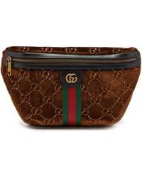 Gucci GG Logo Velvet Cross-body Bag - Brown