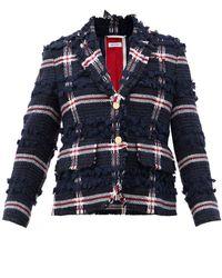 Thom Browne ウールブレンドツイード シングルジャケット - ブルー