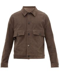 Raey Chest Pocket Cotton Blend Corduroy Jacket - Brown