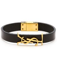 Saint Laurent Bracelet en cuir à plaque monogramme YSL - Noir
