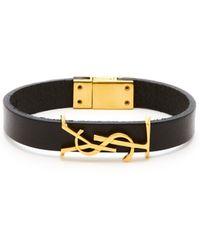 Saint Laurent Ysl Monogram Plaque Leather Bracelet - Black