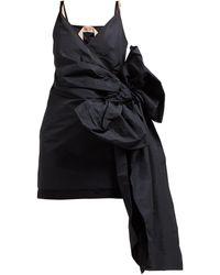 N°21 サイド リボンディテール ツイル ミニドレス - ブラック