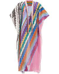 Missoni V-neck Striped Cotton-voile Kaftan - Blue