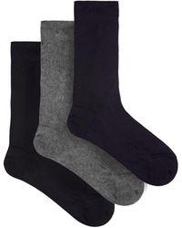 Raey Ensemble de trois paires de chaussettes en soie - Noir