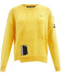 Raf Simons Logo-patch Merino-wool Jumper - Yellow
