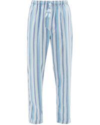 Derek Rose アークティック ストライプ コットンパジャマパンツ - ブルー