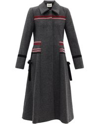 Molly Goddard Cleo Velvet-trim Single-breasted Wool Coat - Grey