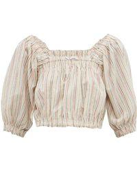 Apiece Apart Francisca Striped Cropped Cotton Poplin Top - Multicolor