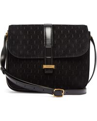 ff7d1ab7b5b Saint Laurent Monogramme Glitter Shoulder Bag in Black - Lyst
