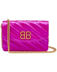 Balenciaga - Bb Logo Embroidered Satin Clutch Bag - Lyst