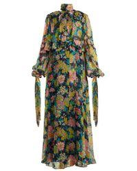 MSGM - Floral-print Silk-chiffon Dress - Lyst