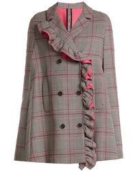 MSGM - Asymmetric-ruffle Prince Of Wales-checked Cape - Lyst