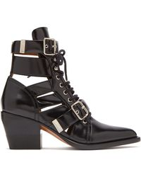 Chloé Ankle Boots Ch18a Smooth Leather Black