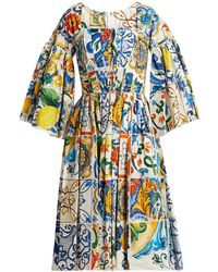 c86668c210 Dolce   Gabbana - Majolica Print Square Neck Cotton Poplin Dress - Lyst
