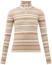 JW Anderson Zip-up Wool Rib Knit Sweater - Natural