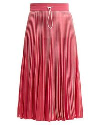 Valentino - High Rise Pleated Jersey Midi Skirt - Lyst