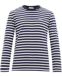 Maison Kitsuné Striped Logo Sweatshirt - Blue