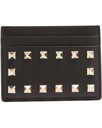 Valentino | Rockstud Leather Cardholder | Lyst