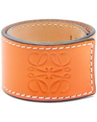 Loewe Logo-debossed Leather Snap Bracelet - Orange