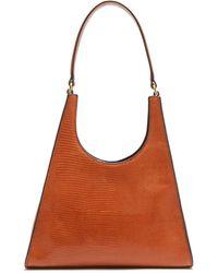 STAUD Rey Lizard Effect Leather Shoulder Bag - Brown