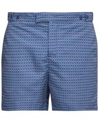 Frescobol Carioca Ipanema Print Tailored Swim Shorts - Blue