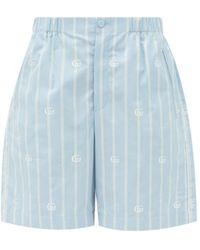 Gucci Logo-jacquard Striped Cotton-poplin Shorts - Blue