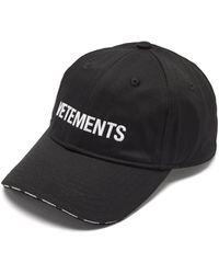 Vetements ロゴ コットンツイルキャップ - ブラック