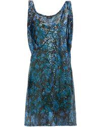 Atlein Draped-shoulder Sequinned Mini Dress - Blue