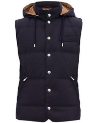 Brunello Cucinelli Down-quilted Technical Hooded Gilet - Blue